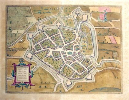 "Image for HAND-COLORED ENGRAVED TOWN PLAN. ""ALOSTUM, URBS FRANDRIAE IMPERATORIAE FIRMISSIMA."" [COLOGNE], [CA. 1572-1618] [LBC]"