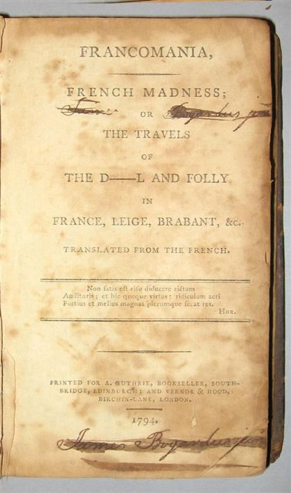 Image for FRANCOMANIA, FRENCH MADNESS; OR, THE TRAVELS OF THE D_L AND FOLLY IN FRANCE, LEIGE, BRABANT