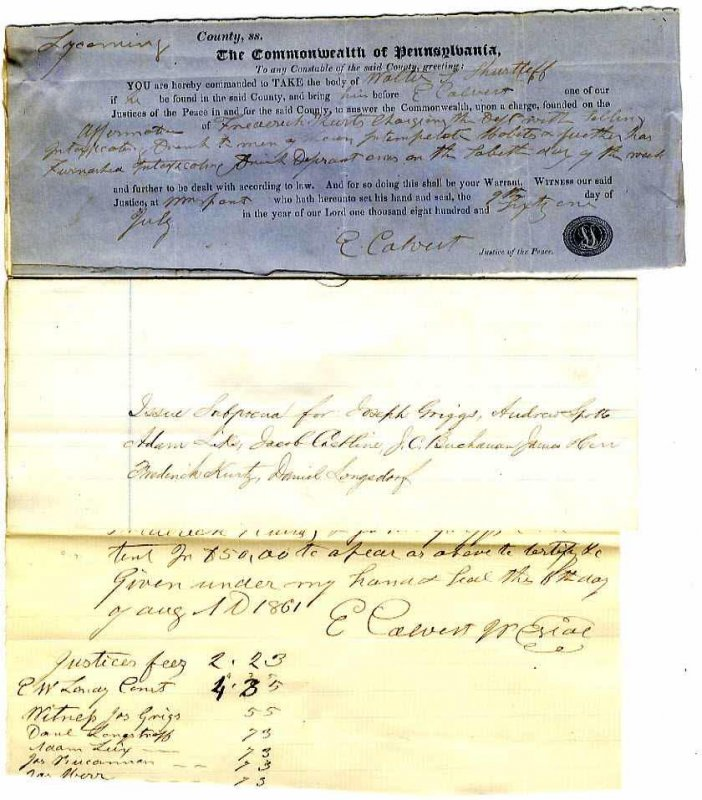 Image for EARLY ARREST WARRANT FROM THE COMMONWEALTH OF PENNSYLVANIA FOR SELLING LIQUOR.
