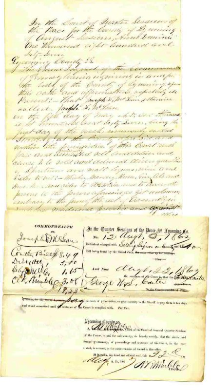 Image for ARREST WARRANT AND EARLY COURT RECORDS FROM THE COMMONWEALTH OF PENNSYLVANIA FOR SELLING LIQUOR.
