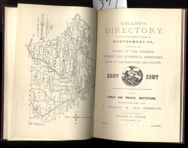 Image for GRADY'S DIRECTORY MONTGOMERY GUIDE AND REFERENCE BOOK OF MONTGOMERY, PA; NAMES OF THE CITIZENS, STREET AND NUMERICAL DIRECTORY, MAPS OF THE BOROUGH AND COUNTY 1897