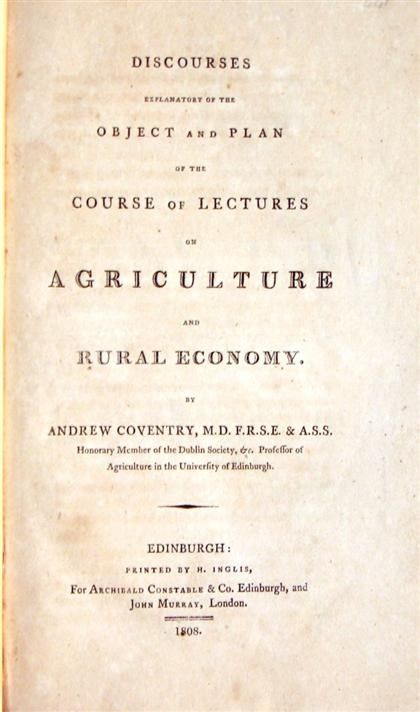 Image for DISCOURSES EXPLANATORY OF THE OBJECT AND PLAN OF THE COURSE OF LECTURES ON AGRICULTURE AND RURAL ECONOMY. [G]