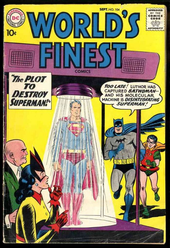 Image for WORLD'S FINEST COMICS; THE PLOT TO DESTROY SUPERMAN [COMIC BOOK] SEPT 1959 #104