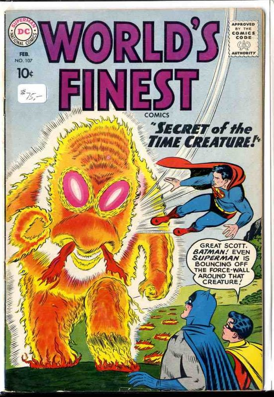 Image for WORLD'S FINEST COMICS; SECRET OF THE TIME CREATURE #107 10C [COMIC BOOK] FEB 1960