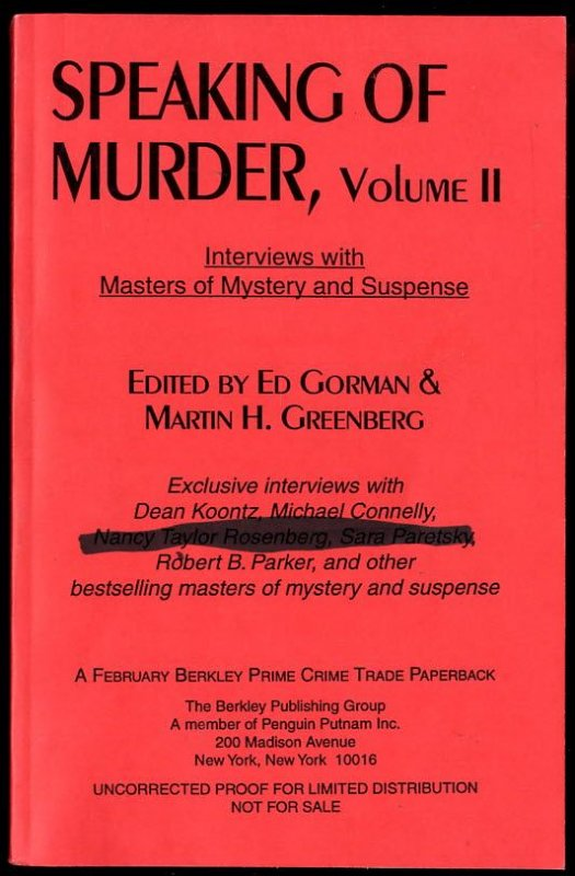 Image for SPEAKING OF MURDER, VOLUME II  Interviews With the Masters of Mystery and Suspense, Vol. 2