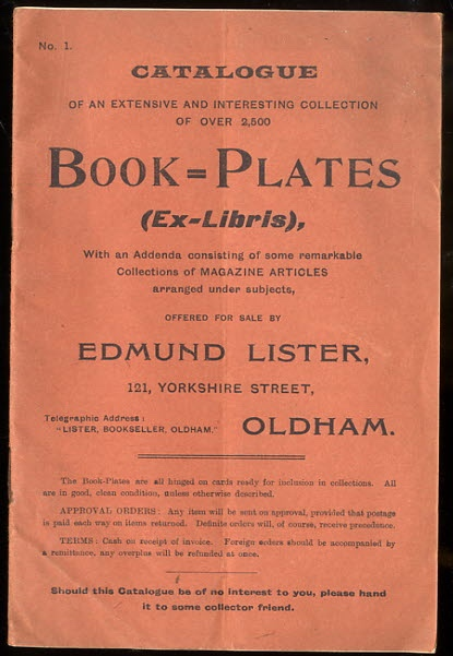 Image for #1 CATALOGUE OF AN EXTENSIVE AND INTERESTING COLLECTION OF OVER 2500 BOOK PLATES WITH AN ADDENDA...