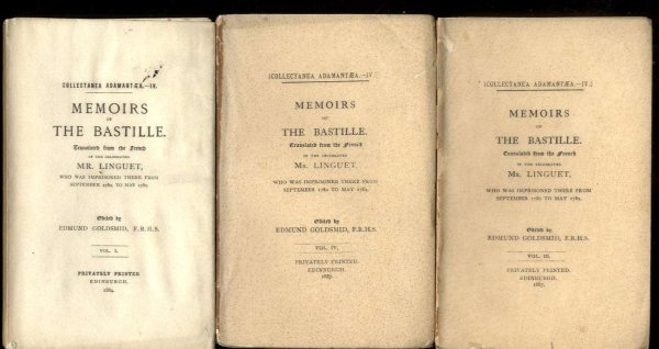 Image for MEMOIRS OF THE BASTILLE [COMPLETE IN 3 VOLUMES]