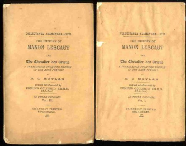 Image for HISTORY OF MANON LESCAUT AND THE CHEVALIERDES GRIEUR IN THREE VOLUMES [VOLS I & III ONLY]