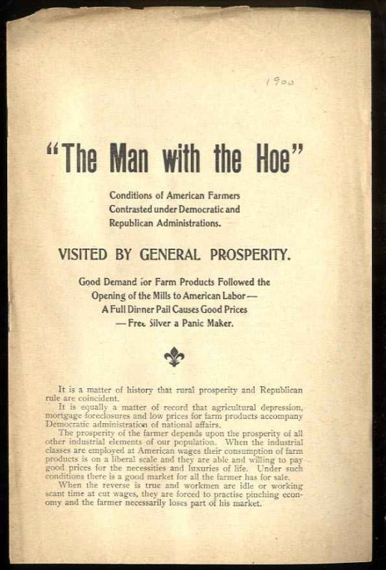 "Image for ""THE MAN WITH THE HOE"": CONDITIONS OF AMERICAN FARMERS CONTRASTED UNDER ..."