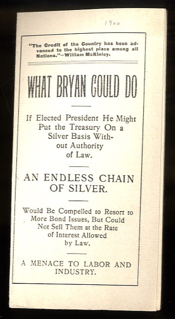 Image for WHAT BRYAN COULD DO : IF ELECTED PRESIDENT HE MIGHT PUT THE TREASURY ON A SILVER BASIS WITHOUT AUTHORITY OF LAW.