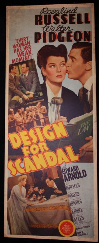 "Image for DESIGN FOR SCANDAL, WALTER PIDGEON, ROSALIND RUSSEL 36 X 14"" AUTHENTIC ORIGINAL LITHOGRAPH MOVIE POSTER"