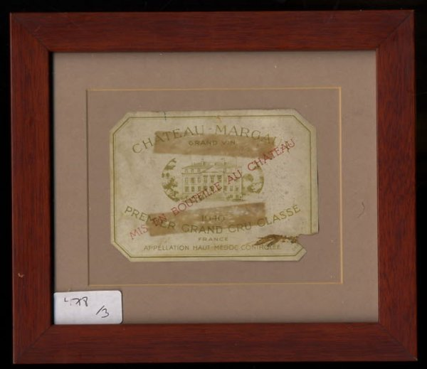 Image for CHATEAUX MARGAUX 1940 PREMIERE GRAND CRU CLASSE FRAMED WINE LABEL