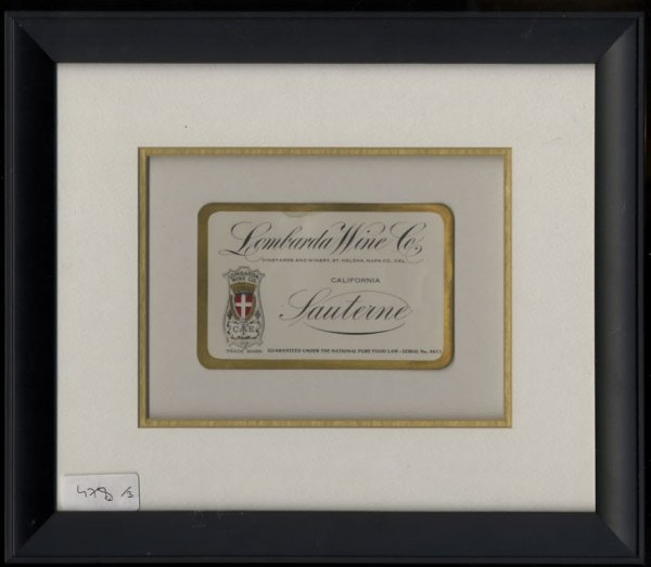 Image for LOMBARDA WINE CO. CALIFORNIA SAUTERNE. LABEL FRAMED