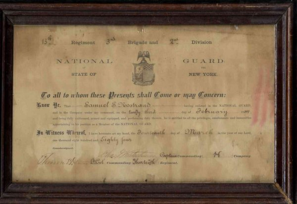 Image for 1884 FRAMED HISTORIC DOCUMENT NATIONAL GUARD MEMBERSHIP CERTIFICATE SAMUEL S. NOSTRAND HAND LETTERED [G] [Lbc]