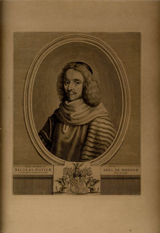 Image for LARGE ENGRAVED PORTRAIT OF NICOLAS POTIER [1660-1693], THE FIRST PRESIDENT OF PARIS' PARLIAMENT [Lbc]