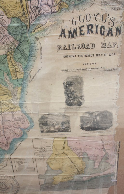 Image for Large 1861 Civil War Railroad Map Of The Seat Of War; Lloyd's American Railroad Map Showing The Whole Seat Of War, [LBC]