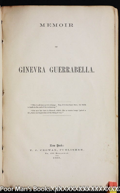 Image for MEMOIR OF GINEVRA GUERRABELLA.