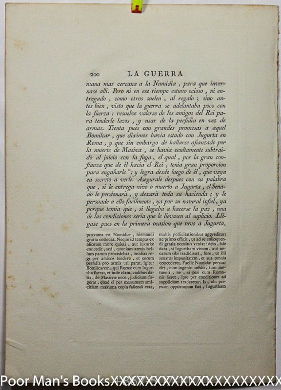 Image for SINGLE FOLIO LEAF FROM LA GUERRA DE JUGURTA CIRCA 1621