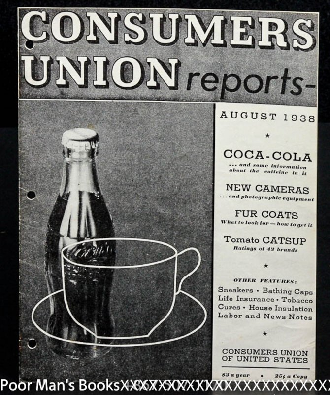 Image for CONSUMERS UNION OF UNITED STATES AUGUST 1938