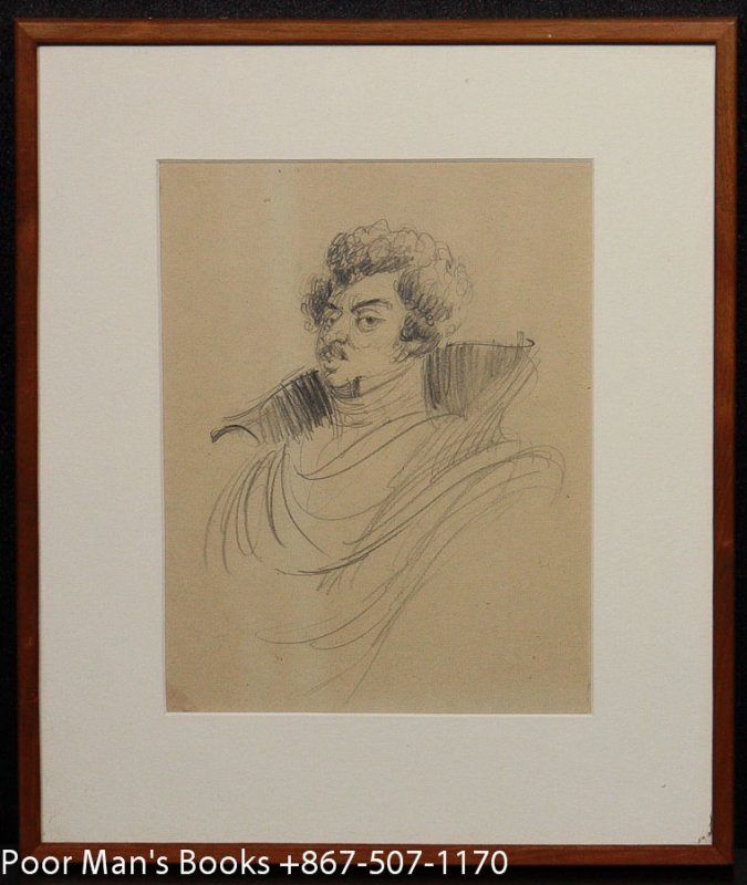 "Image for ORIGINAL PENCIL SKETCH OF ALEXANDER DUMAS BY FREDERICK BANBURY 9 1/4 X 6 7/8 ON PAPER FOR ""THE LITERARY GOURMET,"""