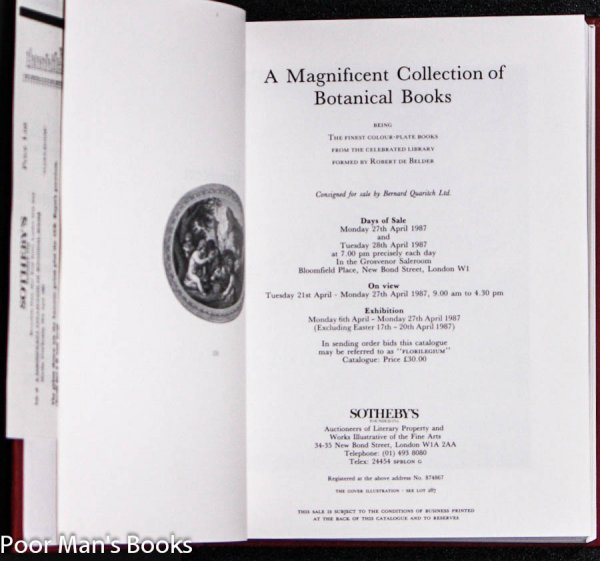 Image for MAGNIFICENT COLLECTION OF BOTANICAL BOOKS. CATALOG FOR AN AUCTION HELD APR. 27-28, 1987