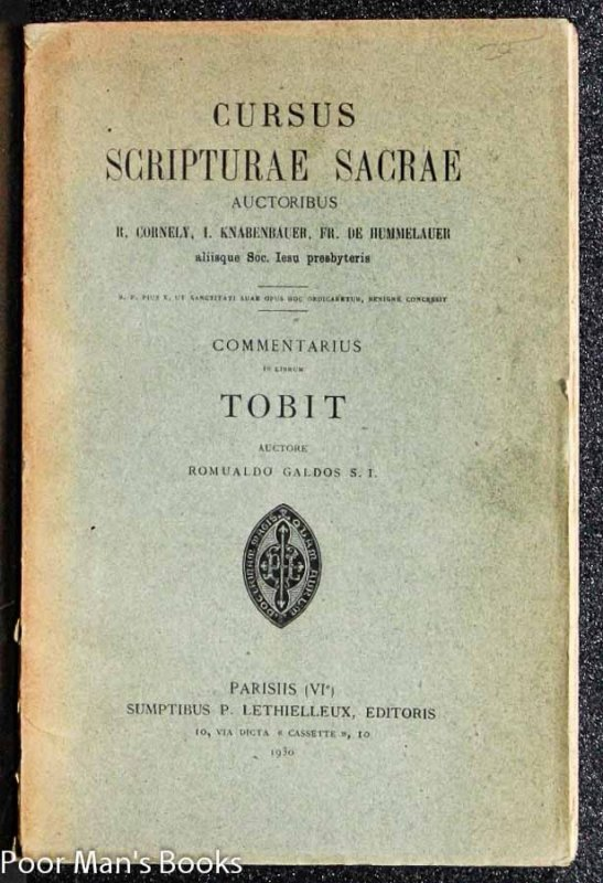 Image for COMMENTARIUS IN LIBRUM TOBIT. (CURSUS SCRIPTURAE SACRAE)