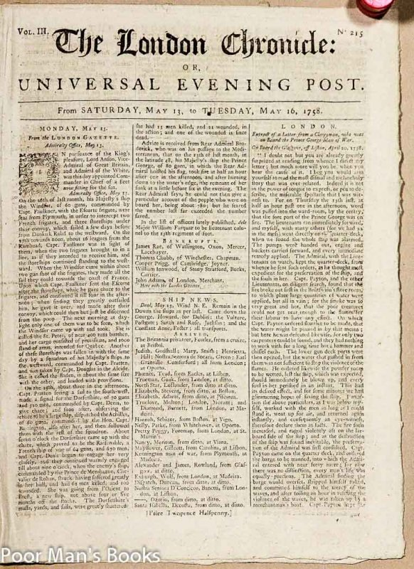Image for AN EIGHTEENTH CENTURY NEWSPAPER - THE LONDON CHRONICLE [1758]