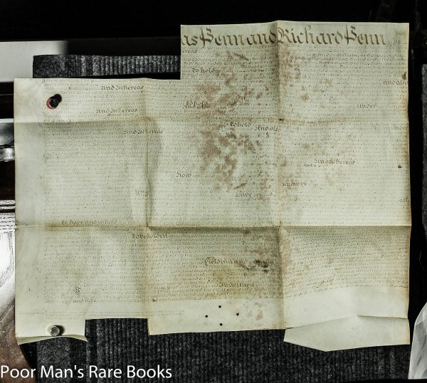 Image for 1735 Vellum Land Lease Document Of Richard Penn