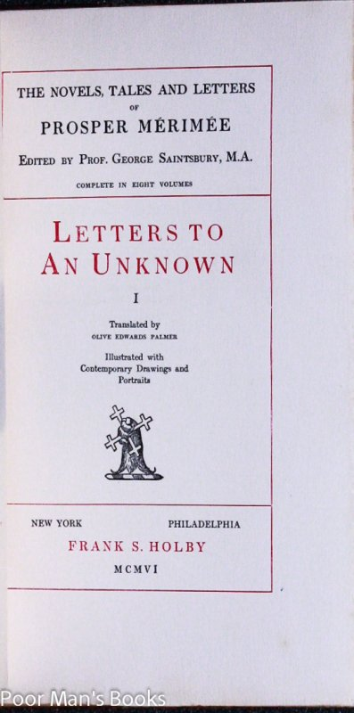 Image for LETTERS TO AN UNKNOWN [CT IN 2 VOLS]