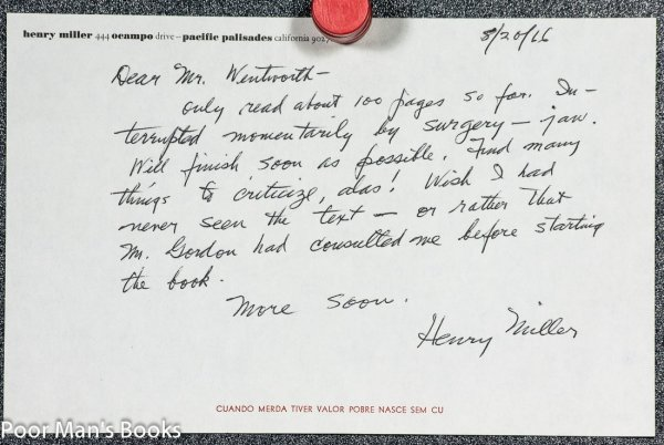 Image for HENRY MILLER. [ALS] AUTOGRAPH LETTER SIGNED BY HENRY MILLER AND DENIGRATING HIS BIOGRAPHY
