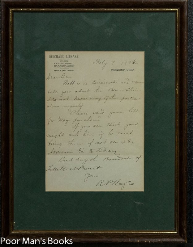 "Image for RUTHORFORD B. HAYES. ALS. [AUTOGRAPH LETTER SIGNED] ""BEAR SKIN"" LETTER"