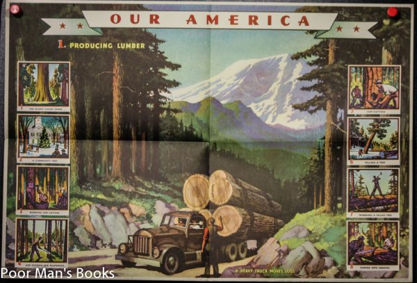 Image for OUR AMERICA LUMBER COCA COLA WYETH SET OF 4 LARGE POSTERS IN ORIGINAL WRAP WITH PAMPHLET AND PRINT.