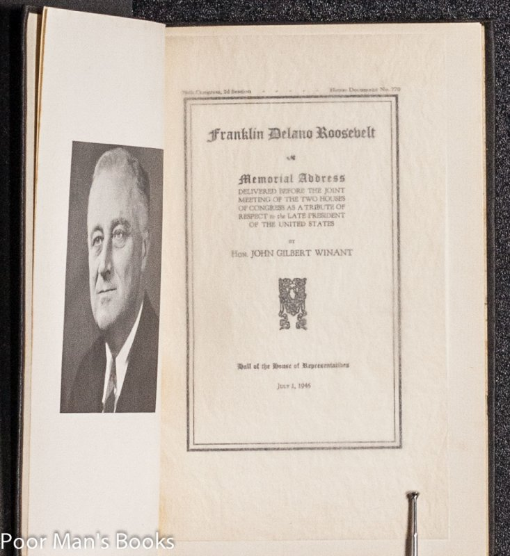 Image for FRANKLIN DELANO ROOSEVELT: MEMORIAL ADDRESS