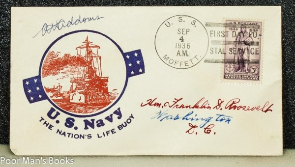 "Image for UNITED STATES NAVY 1936 CACHET ""US NAVY, THE NATION'S LIFE BUOY' ADDRESSED TO FRANKLIN D. ROOSEVELT AND FROM HIS STAMP COLLECTION."