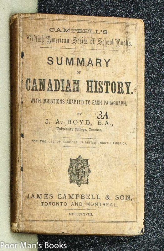 Image for SUMMARY OF CANADIAN HISTORY: FROM THE TIME OF CARTIER'S DISCOVERY TO THE PRESENT DAY.
