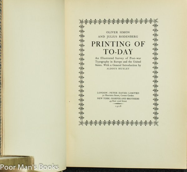 Image for PRINTING OF TO-DAY. AN ILLUSTRATED SURVEY OF POST-WAR TYPOGRAPHY IN EUROPE AND THE UNITED STATES