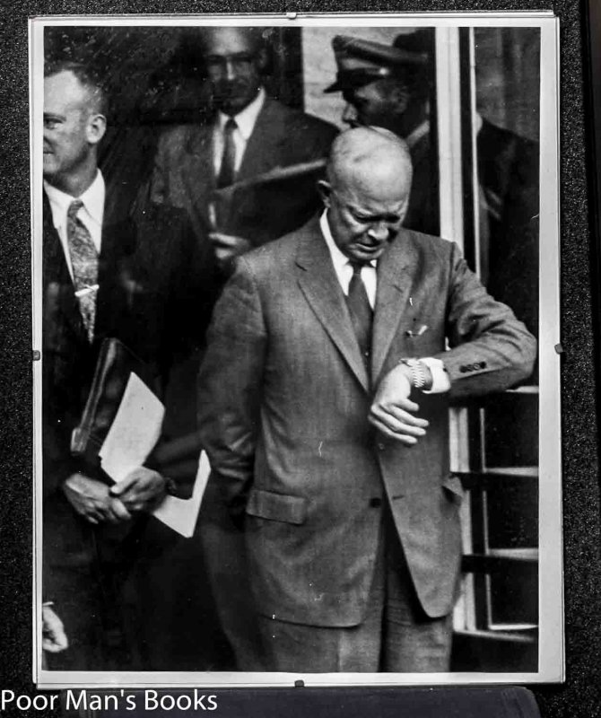 "Image for 11 X 14"" B/W FRAMED PHOTO OF PRESIDENT DWIGHT D EISENHOWER GLARING AT HIS WATCH. [LBC}"