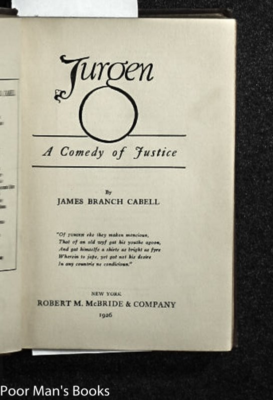 Image for JURGEN: A COMEDY OF JUSTICE