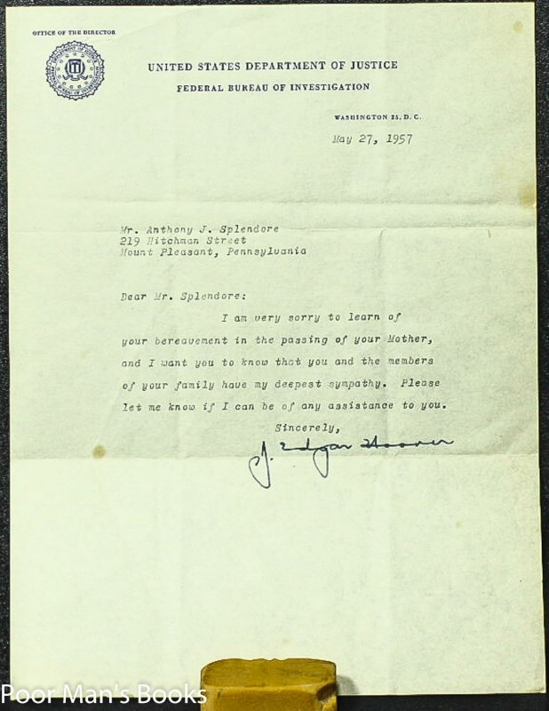 Image for J EDGAR HOOVER TLS , BEREAVEMENT LETTER SIGNED.
