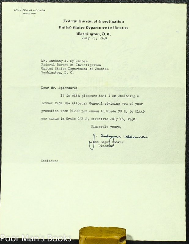 Image for J EDGAR HOOVER TYPED NOTE SIGNED.