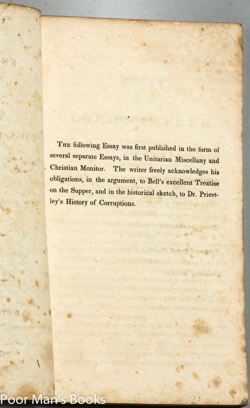Image for AN ESSAY ON THE LORD'S SUPPER [HAMLIN'S COPY, 1ST VP OF PRESIDENT LINCOLN]