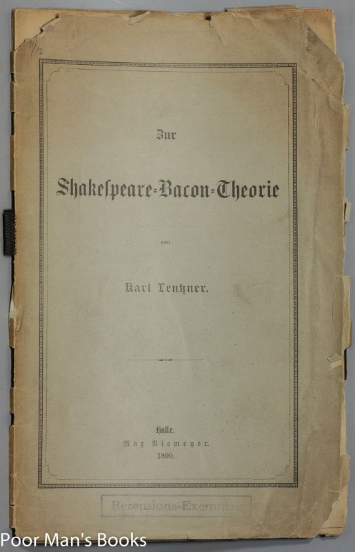 Image for ZUR SHAKESPEARE BACON THEORIE