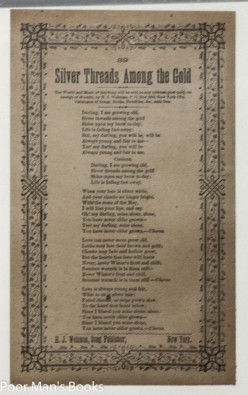 Image for THREE VICTORIAN ERA SONGSHEETS BROADSIDES, NEARER MY GOD TO THEE, SILVER THREADS AMONG THE GOLD, THE SWEET BY AND BY