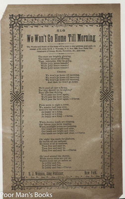 Image for 3 PC. ANTIQUE H.J. WEHMAN VICTORIAN SONG SHEETS OLD BLACK JOE 1860 BRING BACK MY BONNIE TO ME 1882 WE WON'T GO HOME TILL MORNING BROADSIDES