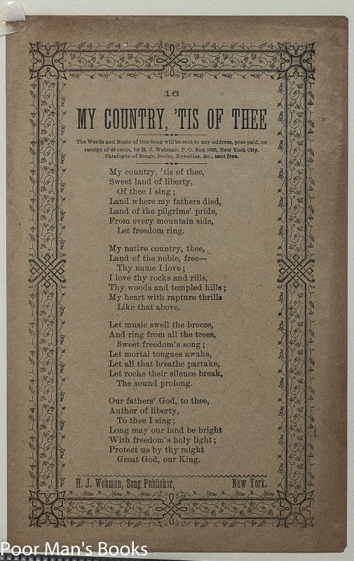 Image for 3 VICTORIAN SONG SHEETS AULD LANG SYNE HOME AGAIN MY COUNTRY 'TIS OF THEE BROADSIDES