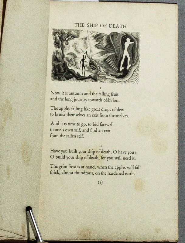 Image for THE SHIP OF DEATH AND OTHER POEMS. WITH WOOD ENGRAVINGS BY BLAIR HUGHES-STANTON.S