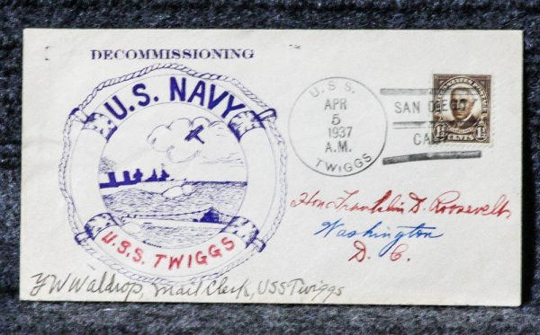 Image for USS TWIGGS DECOMMISSIONING 1937 NAVAL CACHET ADDRESSED TO FRANKLIN D. ROOSEVELT FROM HIS STAMP COLLECTION.