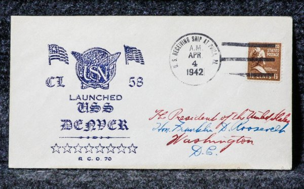 Image for USS DENVER 1942 NAVAL CACHET ADDRESSED TO FRANKLIN D. ROOSEVELT FROM HIS STAMP COLLECTION.