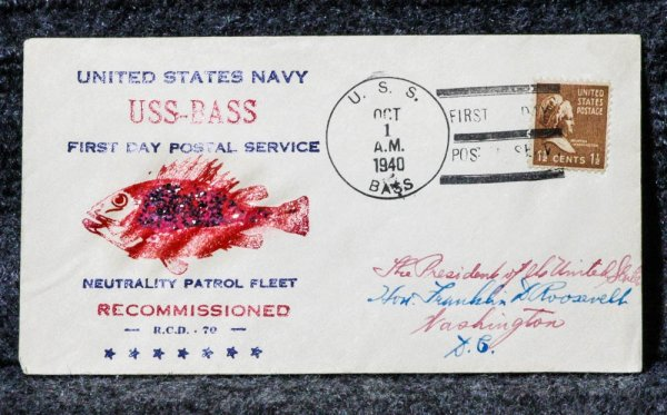 Image for USS BASS FIRST DAY NAVAL CACHET ADDRESSED TO FRANKLIN D. ROOSEVELT FROM HIS STAMP COLLECTION.