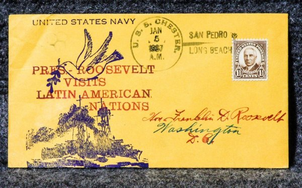 Image for Roosevelt Visit Naval Cachet Addressed To Franklin D. Roosevelt From His Stamp Collection.